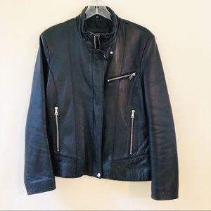 Collezione Black Leather Biker Jacket Size L